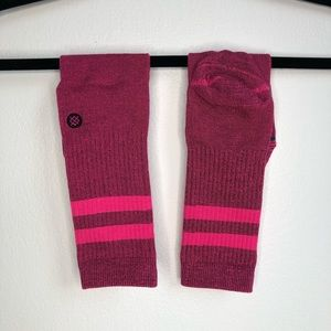 Pink Stance socks with double stripe crew height